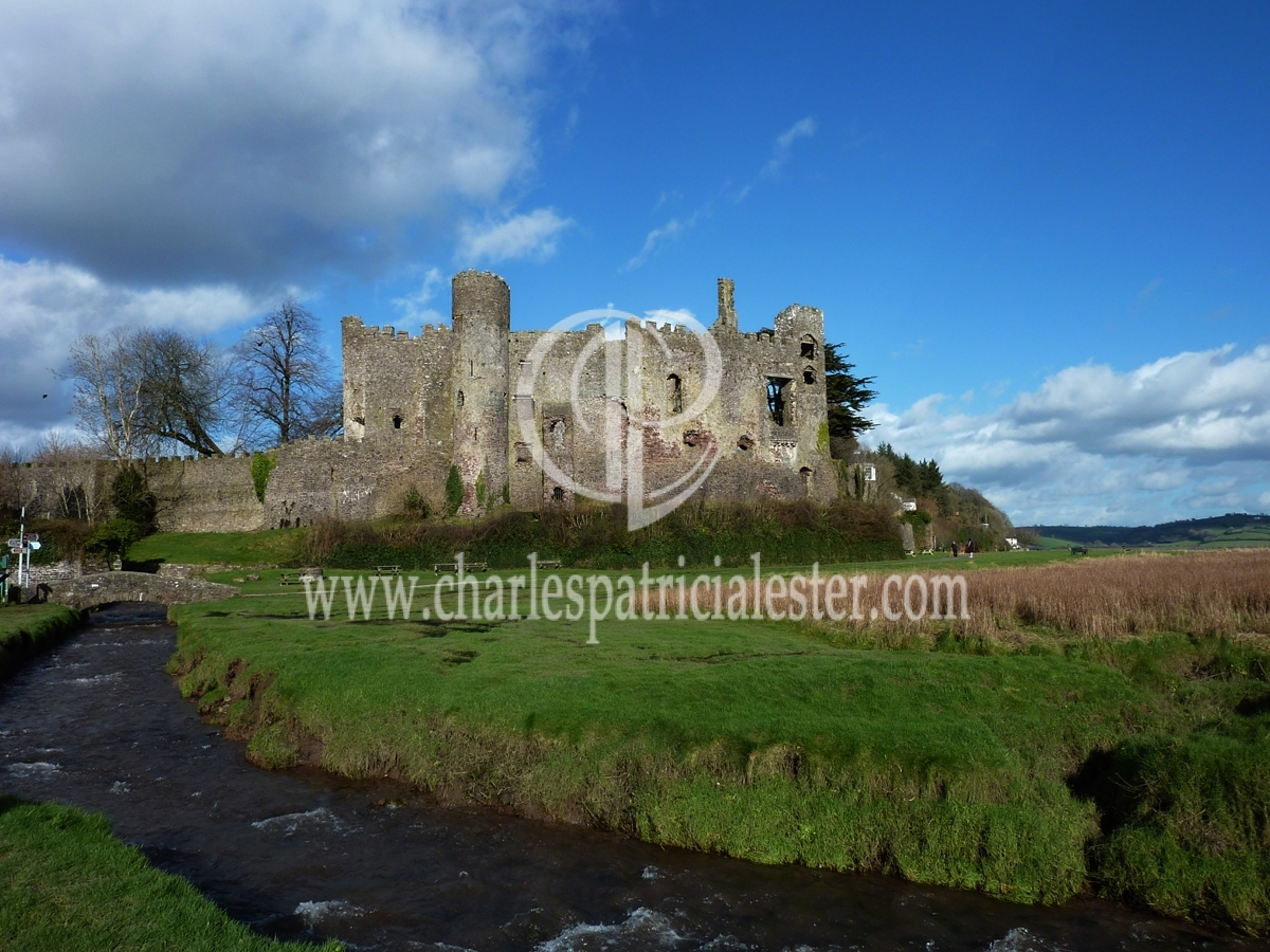 Laugharne castle basking in winter sunshine.