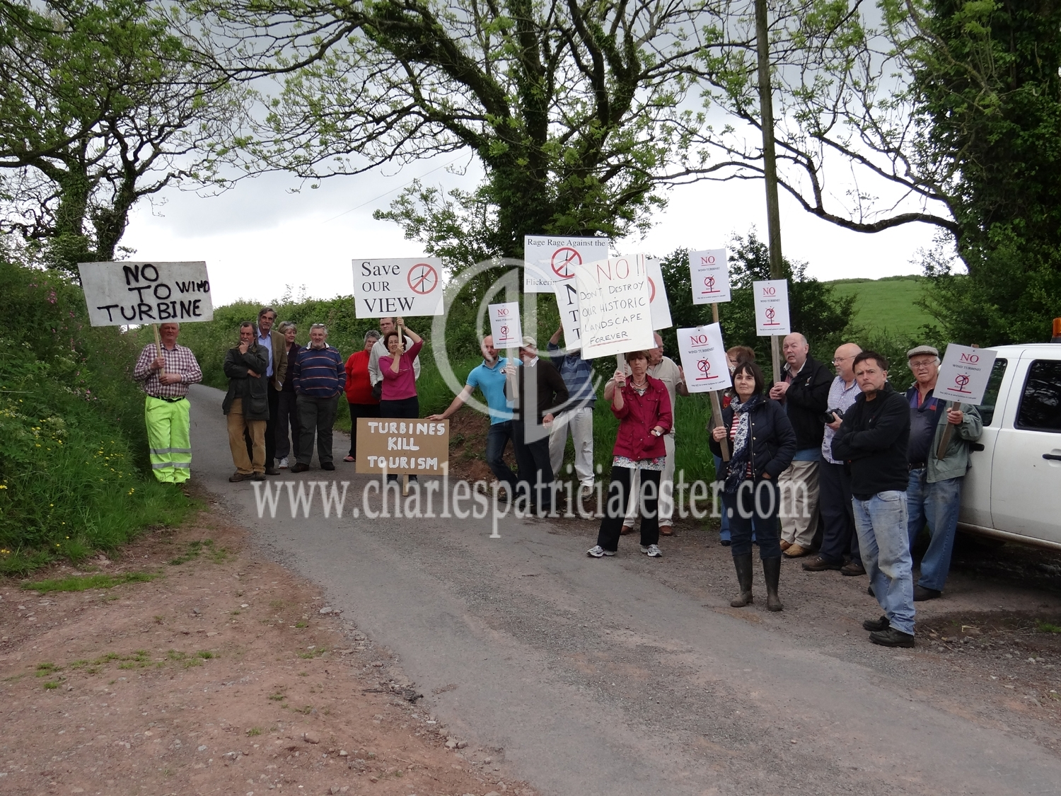 Locals protest about the plans for a wind turbine in this idyllic landscape